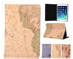 Fashion World Map Fold Design book cover for Apple ipad pro case with stand Top Quality PU leather case for ipad pro Book Cover Design, Book Design, Leather Case, Pu Leather, Cute Ipad Cases, Ipad Pro 12 9, Apple Ipad, Map, Fashion