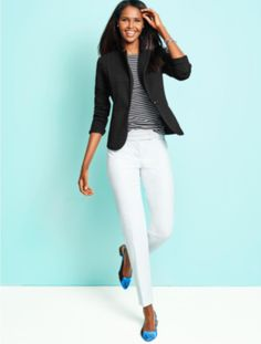Talbots - Zigzag-Knit Jacket | Black and White | Woman