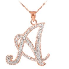 TrioStar 18k Rose Gold Plated 925 Silver Letter Script Y Simulated Diamond Initial Pendant /& Necklace for Womens