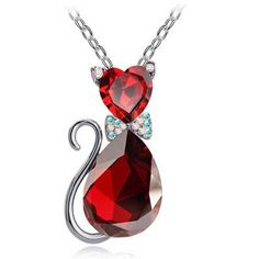 Cute Austrian crystal kitten pendant necklace and chain. This glowing charm necklace will be fun to show to your friends and see how they will admire and want one too. - Enjoy the purrfect kitten size