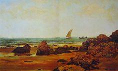 Eliseo Meifrén Roig. Rocas en la playa. Óleo sobre lienzo. Firmado y fechado en 1880. 29 x 48 cm. Ausa, p. 108-9.