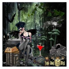 """"" BLOOD OF BAT & EYE OF SPIDER "" for scary fairy comp..."" by cathiemcnally ❤ liked on Polyvore featuring art"