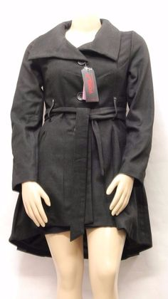 NEW YORK YOKI COLLECTION Women Coat Black Single Breast Button Front Belt Sz L #Yoki #Belowthewaist