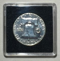1959 Uncirculated Brilliant Proof Philadelphia Franklin Silver Half Dollar.