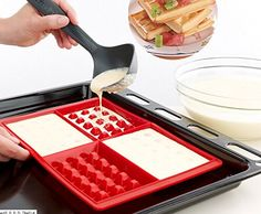 Amazon.com: WOOTOP-Red Silicone Waffle Mold, 100% Food Grade Silicone Waffle Mold: Kitchen & Dining