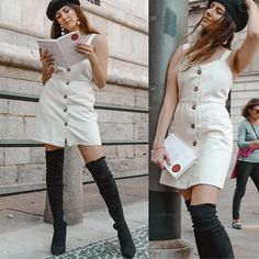 Get this look: http://lb.nu/look/9057768  More looks by NigarN: http://lb.nu/nigarn  Items in this look:  Urban Outfitters The Dress, Na Kd Over Knee Boots, Asos Berette, H&M Pearl Earrings   #casual #romantic #vintage #beige #black #hat #thegirlwithahat #tgwah #nigarn