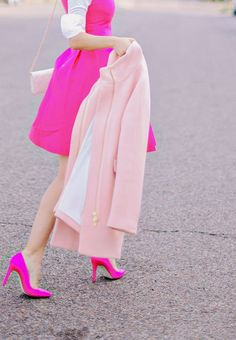 Hot Pink Kate Spade Bow Dress + J.Crew Pink Pumps- need this! Pink Love, Pretty In Pink, Bright Pink, Pastel Pink, Pink Fashion, Love Fashion, Fashion Tips, Vestidos Color Rosa, Look Rose