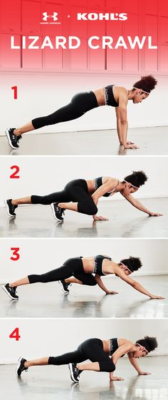 Just like its namesake reptile, the key to the lizard crawl is keeping close to the ground. Start in the plank position and stay low as you step each leg and arm up as far as you can, alternating side to side, and crawling forward slowly. Get fit with Under Armour and Kohl's.