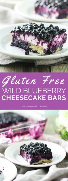 ad: Everyone will love these gluten free cheesecake bars topped with an irresistible wild blueberry topping.