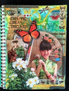 Mixed Media Magazine People Art Journal Page