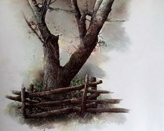 Hubert Shuptrine Print Split Rail, Appalachian Mountains, Wooden Log Fence, Big Tree, Southern art Print, Farmhouse Decor, Vintage Wall ARt by MushkaVintage3 on Etsy