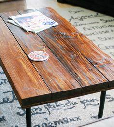 Reclaimed Wood Rectangular Industrial Coffee Table