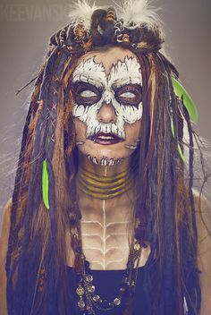 Makeup by Keevanski.  DIY Peluca Rastas de Lana · Merino Wool Dreadlock Wig Tutorial · Tribal Cosplay Makeup Halloween Ideas Voodoo Skull Priestess Witch Doctor by Keevanski
