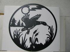 Duck 086 Large Circle Metal Wildlife Wall Art by cabinhollow