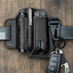 EDC Tool Holster Pouch Leather Belts, Leather Tooling, Leather Case, Leather Holster, Cowhide Leather, Crazy Horse, Edc Belt, Pen Storage, Tactical Gear