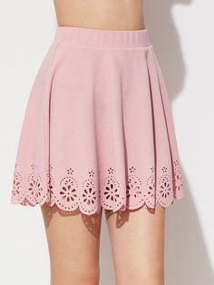 e5a7838a6416 SheIn Skirts Womens 2017 Laser Cut Scallop Hem Textured Skirt Summer Ladies  Pink Hollow Out Above Knee A Line Skirt