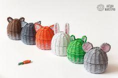 Шкатулки-зверята (плетение из бумажной лозы, газет, бумажных трубочек, basket weaving, paper, wicker box, cute animals)