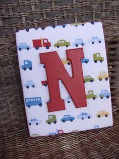 Boy Nursery Letters, 8x10 Wood Letters Wall Letters, Monogram, Pottery Barn Oscar Letters, Transportation Nursery. $17.99, via Etsy.