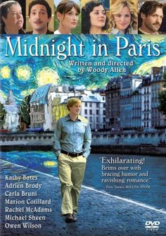 Midnight in Paris is an American romantic comedy fantasy film written and directed by Woody Allen. Taking place in Paris, the film follows Gil Pender, a screenwriter, who is forced to confront the shortcomings of his relationship with his materialistic fiancée and their divergent goals, which become increasingly exaggerated as he travels back in time each night at midnight.