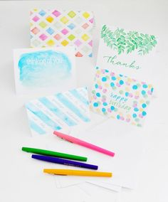 set of watercolor note cards
