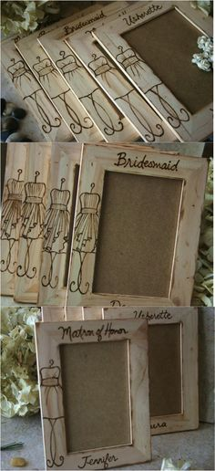 This is a customized gift with your bridesmaid dress hand engraved in a wood picture frame. | Made on http://Hatch.co