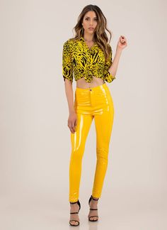 Gloss Lady Faux Patent Skinny Pants YELLOW Skinny Pants, Yellow Black, How To Look Pretty, Patent Leather, Leather Pants, Lady, How To Wear, Cotton, Fashion