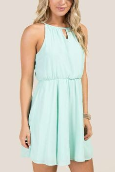 Cece Keyhole Neck Solid A-Line Dress Mint Dress cd8b93a097e9