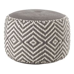 WARM cotton pouffe in grey / white