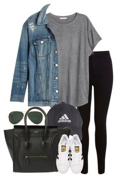 """""""Untitled #250"""" by valerienwashington ❤ liked on Polyvore featuring Miss Selfridge, H&M, Ray-Ban, Madewell, adidas and adidas Originals"""