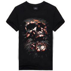 e783a03a6 SookuDesign Cool Skull Breathable Short Sleeve Athletic Funny T-shirt for  Men