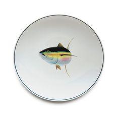 Jersey Pottery Seaflower Tuna Dinner Plate #JerseyPottery #ceramics #pottery #fish #marine