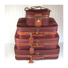 Vintage Jaguar 4 Piece Matching Luggage Set - Retro EggPlant Nylon with Saddle Trim Nesting Collection - 2 Pullman 2 CarryOn SuitCases Keys $116.00  by DivineOrders