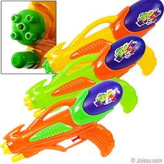 DUAL NOZZLE WATER GUNS. With removable water tanks and pump triggers, these are your go-to water guns. Shoots water over 20 feet! Assorted bright colors. Each polybagged with header.  Size 10 Inches