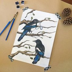 Wall art print watercolour art bird art magpie print