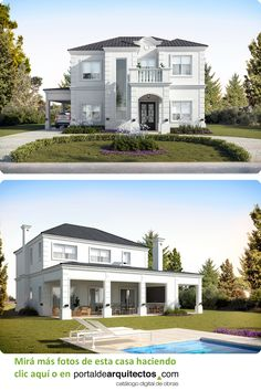 Classic House Exterior, Classic House Design, Dream Home Design, Modern House Design, House Architecture Styles, Architectural House Plans, Beautiful Home Designs, Terrace Design, Swimming Pools Backyard