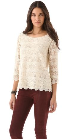 lace blouse and maroon pants (maroon cords)