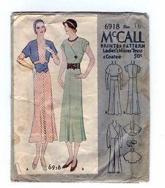 McCall 6918 | 1932 Ladies' & Misses' Dress & Coatee