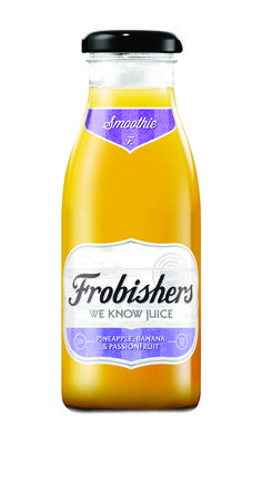 Frobishers Pineapple, Banana & Passionfruit smoothie. Squeezed, pressed and pasturised