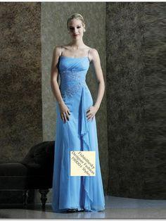 Sheath / Column Spaghetti Straps  Embroidery  Sleeveless Floor-length Chiffon Light Sky Blue Mother of the Bride Dresses