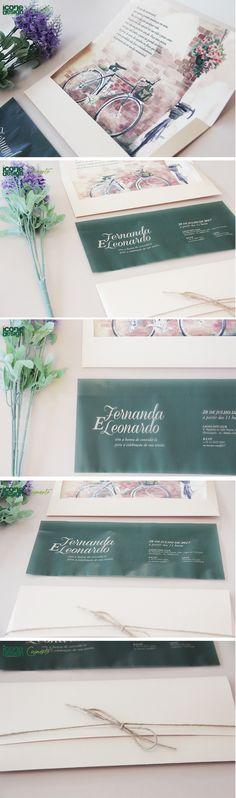 Convite de Casamento Ícone Design Moderno, modelo da Coleção Moscou, com um lindo desenho na aba interna do envelope, convite em papel vegetal e fita de rami acompanhada de laço borboleta simples. Produzido em papeis especiais, com impressão colorida frente.