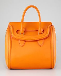 Medium Heroine Satchel Bag, Orange by Alexander McQueen at Bergdorf Goodman. Orange Handbag, Orange Bag, Alexander Mcqueen, Alexander Wang, Mcqueen 3, Givenchy, Color Naranja, Best Handbags, Blue Skinny Jeans