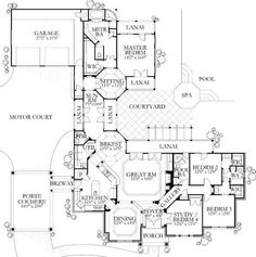 """""""And we shall call this one: The Lanai Plan!"""" I love this. Focus all of the important rooms around a huge, hopefully beautiful feature like a pool. It's great! Except... What is with that waste of a dining room at the front of the house? Who is gonna eat there when they could dine in the nook overlooking the pool instead? I'd make that bitch a LIBRARY. (They had me at """"motor court""""!) :)"""