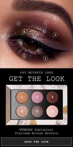 MTHRSHP Subliminal Platinum Bronze Palette Deep velvety brown, rose pink, plum, and bronze dramatic smokey eye courtesy of Pat McGrath Labs Spring/Summer 2018 Eyeshadow Palette: [. Dramatic Smokey Eye, Dramatic Eye Makeup, Natural Eye Makeup, Eye Makeup Tips, Makeup For Brown Eyes, Smokey Eye Makeup, Makeup Goals, Clean Makeup, Pat Mcgrath