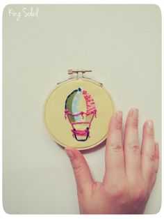 Upcycled Fabric Embroidery Hoop Art Little Hot Air Balloon by King Soleil