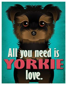 Yorkie Art Print - All You Need is Yorkie Love Poster 11x14 - Yorkshire Terrier Art - Dogs Incorporated
