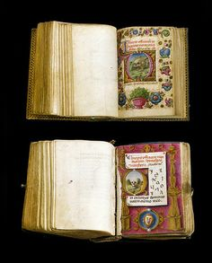 For the love of Books...Miniature Books, Book of Hours, Venice, 1480, showing different treatments with skulls, introducing the Office of the Dead, photo by yram ddik via Flickr.