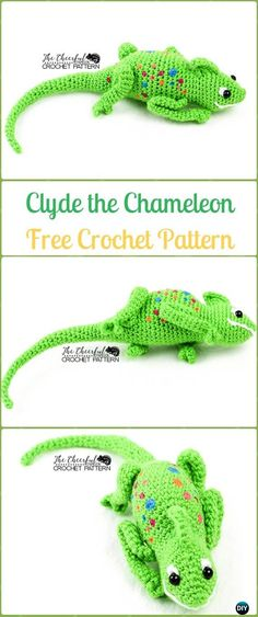 Crochet Amigurumi Clyde the Chameleon Free Pattern&Video - Crochet Chameleon Amigurumi Softies Toy Patterns