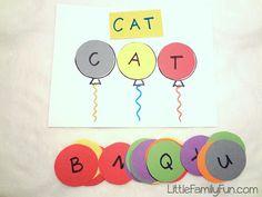 Little Family Fun: Spelling Balloon Game