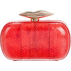 Pre-owned Diane von Furstenberg Snakeskin Flirty Minaudiere ($175) ❤ liked on Polyvore featuring bags, handbags, clutches, red, chain strap purse, snakeskin purse, pre owned handbag, red purse and diane von furstenberg