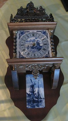 Very close to Gram and Grandpas clock!   Dutch Zaanse Blue Delfts Clock with Blue Delfts Tile |